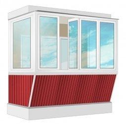 Остекление балкона ПВХ Veka с выносом и отделкой ПВХ-панелями без утепления 2.4 м П-образное