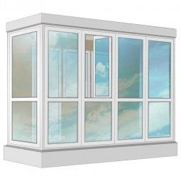Остекление балкона ПВХ Veka в пол с отделкой ПВХ-панелями с утеплением 3.2 м П-образное