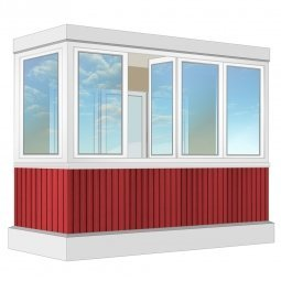 Остекление балкона ПВХ Exprof с отделкой ПВХ-панелями без утепления 3.2 м П-образное