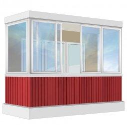 Остекление балкона Алюминиевое Provedal с отделкой вагонкой без утепления 3.2 м П-образное