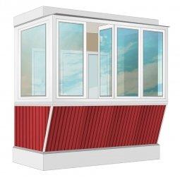 Остекление балкона ПВХ Exprof с выносом и отделкой вагонкой без утепления 2.4 м Г-образное