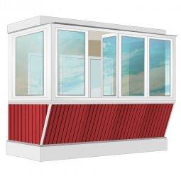 Остекление балкона ПВХ Exprof с выносом и отделкой вагонкой с утеплением 3.2 м Г-образное