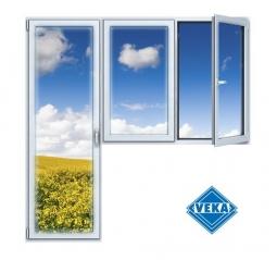 Балконный блок ПВХ Veka 2100х2100 мм 2-ЛГ-ППО 3 стеклопакет