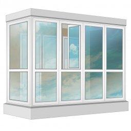 Остекление балкона ПВХ Exprof в пол с отделкой ПВХ-панелями без утепления 3.2 м Г-образное