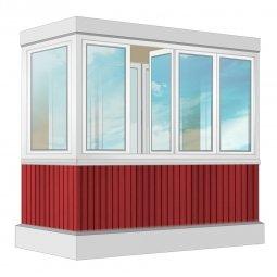 Остекление балкона ПВХ Exprof с отделкой ПВХ-панелями с утеплением 2.4 м П-образное