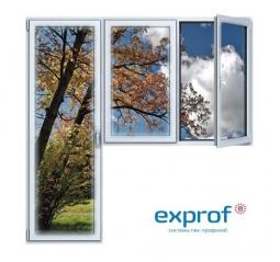 Балконный блок ПВХ Exprof 2100х2100 мм 2-ЛГ-ППО 1 стеклопакет